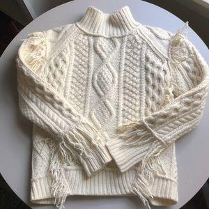Coach cream wool fringe turtleneck sweater